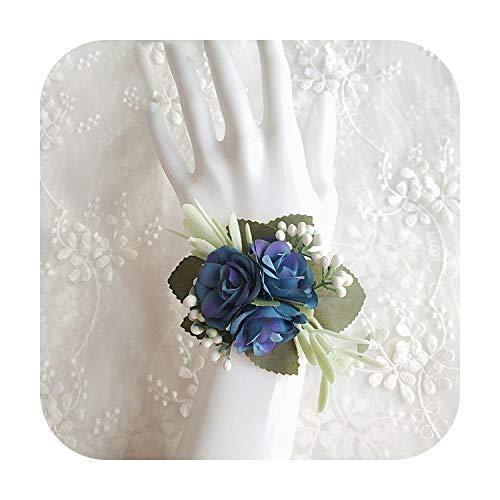 Art Flower Ramillete Boda Boutonnieres Azul Rosas Pulsera De Seda Flores Novio Hombre Traje Ojal Broche Pins Matrimonio Accesorios Pulsera A-