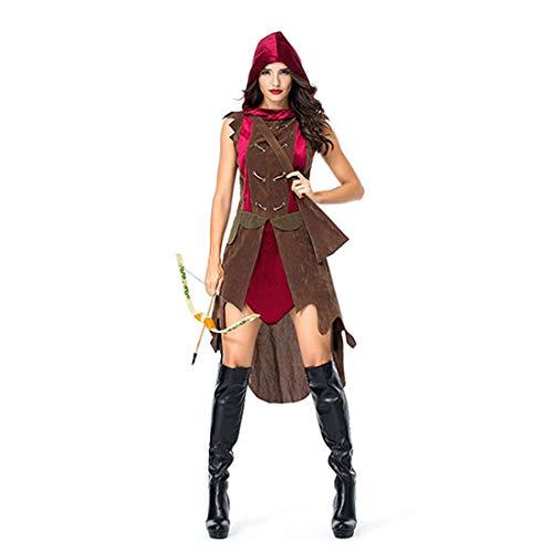 HOOLAZA Frauen Rollenspiel Jäger Robin Hood Kostüm Mit Kapuze Ancient Archers Warriors Cosplay Kleid 2 Stücke