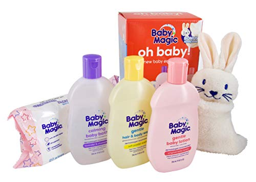 Baby Magic Oh Baby! Baby Essentials Gift Set | (1) Each 9oz Gentle Hair & Body Wash, 9oz Calming Baby Bath, 9oz Gentle Baby Lotion, 80ct Unscented Wipes and Bonus Bunny Lovie