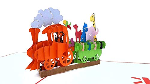 3D Geburtstagskarte – Dampflok Karte für Kinder: Eisenbahn mit bunten Tieren – Handgefertigte Klappkarte mit Umschlag, Pop-Up 3D-Karte zum Geburtstag - 5