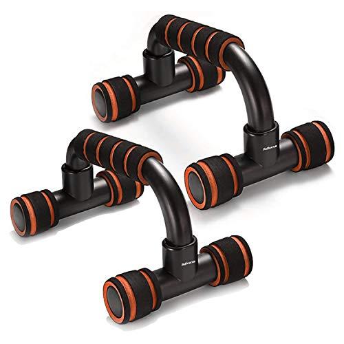 Adkwse Juego de 2 agarres para flexiones, con barras antideslizantes, profesionales para entrenamiento muscular y entrenamiento de fuerza, color naranja