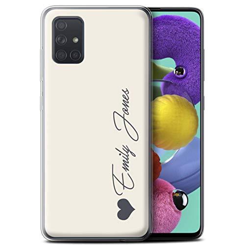 Stuff4 Personalisiert Persönlich Pastell Töne Gel/TPU Hülle für Samsung Galaxy A71 2020 / Elfenbein Herz Design/Initiale/Name/Text Schutzhülle/Hülle/Etui