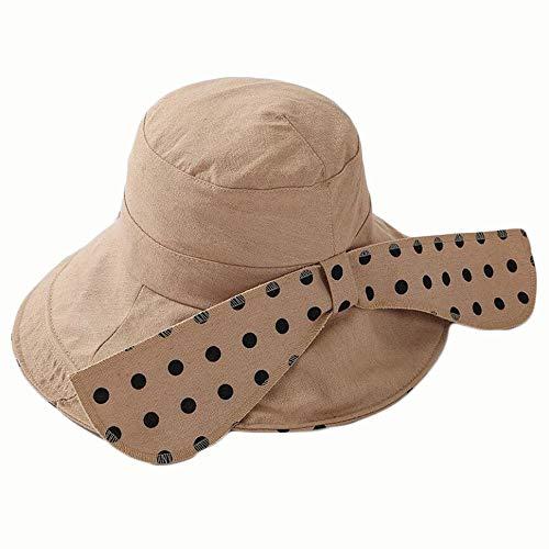 Lowest Price! Hat Women's Big Sunshade Hat Cotton Folding Cloth Cap (Color : Beige, Size : 56-58CM)