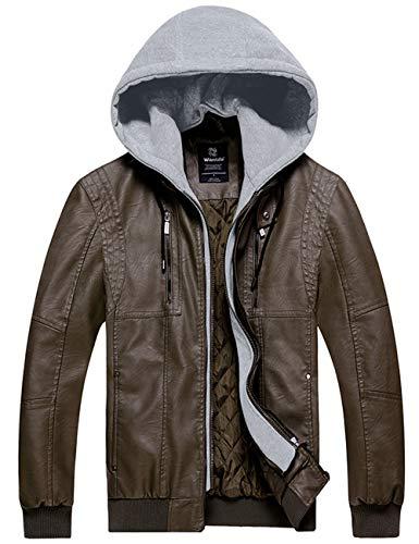 Wantdo Men's Warm Faux Leather Jacket Hoodie Jacket Outwear Warm Army Green S