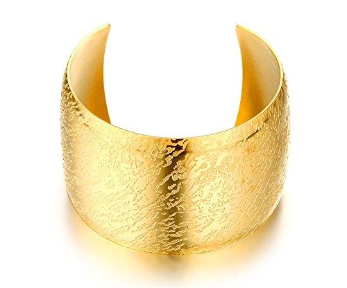 VNOX Edelstahl 18K Gold überzogene Kuppel Form breite Stulpe offene Armband schicke Schmuck für Frauen