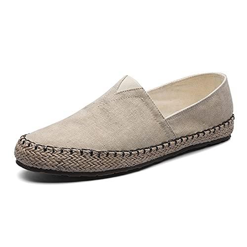 Haoooanfbx Alpargatas Hombre, Zapatos de Lona Plana de Espadrilles para Hombres,cáñamo Pisos Perezosos para Hombres Mocasines Mercados Masculinos Zapatos de conducción