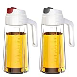 Kingrol 2 Pcs Oil Dispenser Auto Flip Olive Oil Glass Bottles Leakproof Condiment Container with Automatic Cap & Stopper for Kitchen Cooking BBQ - 600 ml