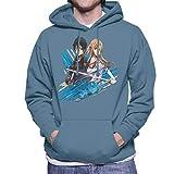 Cloud City 7 Sword Art Online Kirito and Asuna Blue Streaks Men's Hooded Sweatshirt