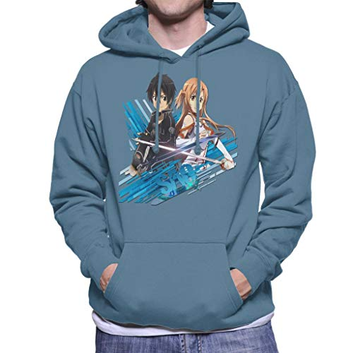 Cloud City 7 Sword Art Online Kirito and Asuna Blue Streaks Men's Hooded Sweatshirt