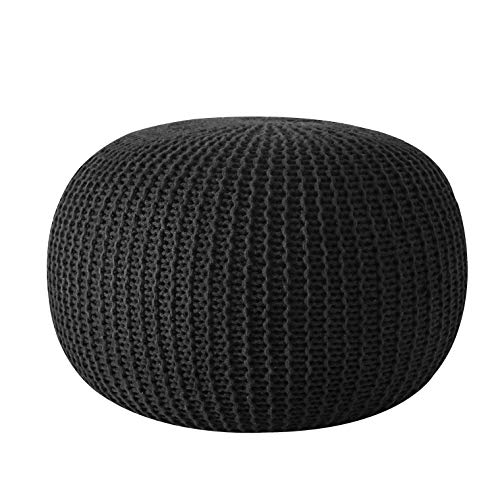 Urban Shop Round Knit Pouf - Hand Woven Cotton, Black