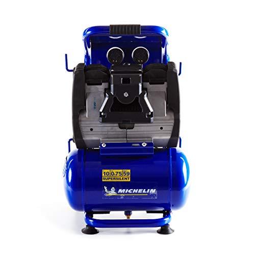 MICHELIN - Compresor de aire silencioso MBN10 - Tanque de 10 litros - Sin aceite - Motor 0,75 hp - Presión máxima 9 bar - Flujo de aire 140 l/min - 8,4 m³/h - 59 dB(A) LpA 4m - 78 dB(A) LwA