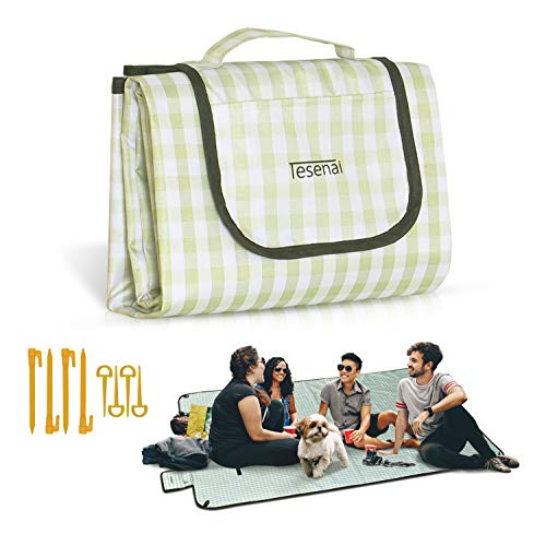 TESENAI Waterproof Extra Large Beach Picnic Blankets - Compact Foldable and Portable Windproof Mat for Outdoor Park Camping Beach on Grass or Sand, Waterproof and Easy Clean-up Picnic Mat
