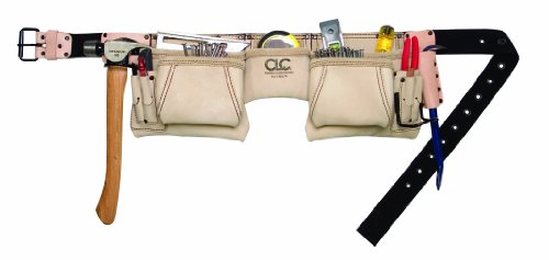 CLC Custom Leathercraft 175274 Heavy Duty Top Grain Leather Construction Work Apron & Hammer Loop, 12 Pocket 2' Leather Work Belt