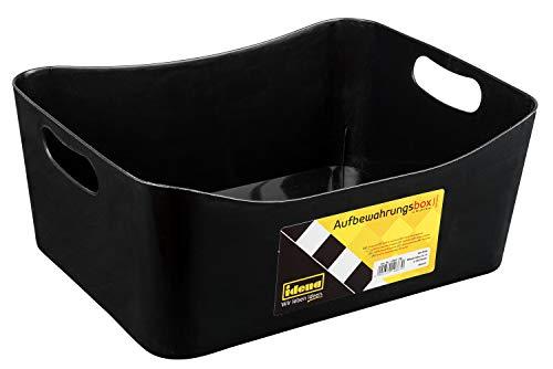 Idena 10867 - Aufbewahrungsbox aus robustem Kunststoff, sorgt für Ordnung zu Hause und auf Arbeit, ca. 32 x 25 x 15 cm, schwarz