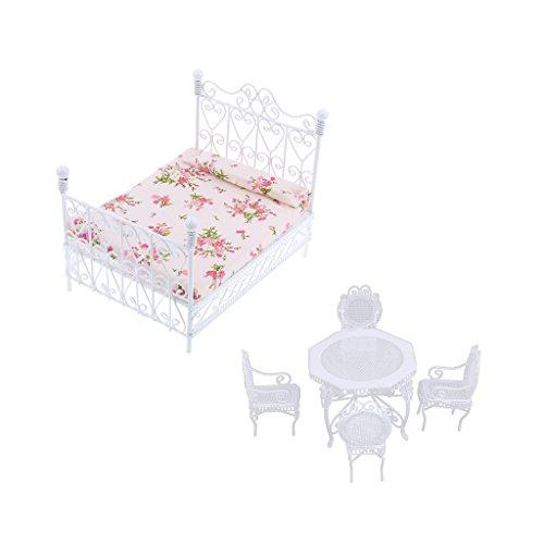 FLAMEER 1/12 Puppenhaus Miniatur Funiture Achteckiges Doppelbett Tisch Stühle Set