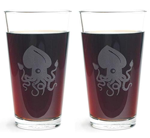 SQUID Pint Glasses set of 2 - Dishwasher-safe nautical etched glass