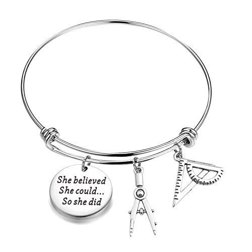 ENSIANTH Architect Bracelet Architecture Gift She Believed She Could So She Did Bracelet Expandable Bangle Gift for Architecture (Architect Bracelet)