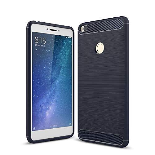 ZHANGHUI Funda Protectora Funda Protectora para Xiaomi MI MAX 2 Case DE Fibra DE Carbono TRABIERTE TPU TPU Funda Protectora de teléfono móvil Resistente a los shatters (Color : Navy)