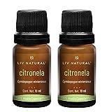 Set de 2 aceites esenciales de Citronela PREMIUM LIV natural, 100% puro y natural, grado terapéutico, para aromaterapia, difusor, cuidado personal y belleza.