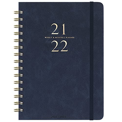 2021-2022 Planner - Weekly & Monthly Planner with Monthly Tabs, 6.3' x 8.4', Smooth Faux Leather & Flexible Cover with White Paper, Wirebound, Navy Blue