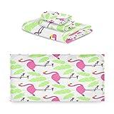 TropicalLife iRoad Juego de toallas de algodón 3 piezas Japón Flamingo Plátano hoja altamente absorbentes toallas de mano toallas de baño juego de toallas de baño para cocina