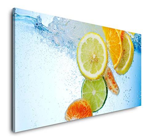 Paul Sinus Art 'Frutti in Acqua 120 x 60 cm Panorama Tela XXL Formato da Parete Soggiorno Soggiorno Soggiorno Decorazione di Stampe artistiche