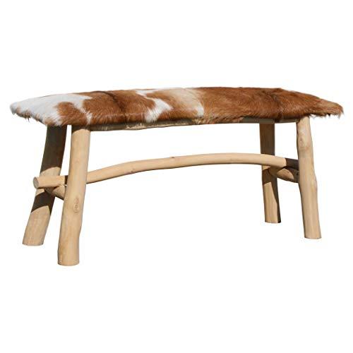 LioLiving®, Sitzbank Yunan aus echtem Ziegenfell und Massivholz (#400012)