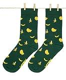 Roits Calcetines Bananas Verde Hombre 41-46 - Calcetines Divertidos de Dibujos Originales Estampados