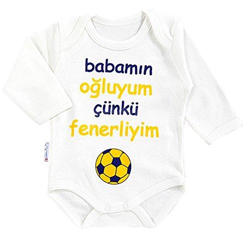 Minisse Fenerbahce Baby Body Fanatik Bebek Taraftar Tulum Größe 56 62 68 74 Fener NEU (74)