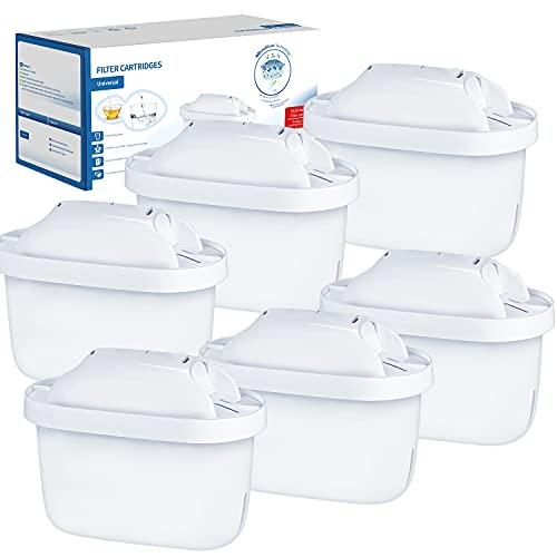 Confezione da 6 Cartucce Filtranti per l'acqua Compatibile con BRITA Maxtra+ Jug Elemento Filtrante Universale Brita Kettle Aiuta a Ridurre il Cloro il Calcare e le Impurità per un Gusto Eccezionale