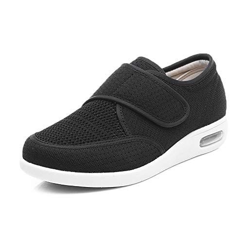 Nwarmsouth Diabetes Schuhe Wanderschuhe Air Cushion,Lose Diabetikerschuhe für ältere Menschen, verstellbare Fußschwellungsschuhe-42_Black,Klett-Halbschuh Gesundheits-Schuh bequem