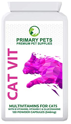 MultiVitamin Supplement for Cats. Pack of 120 Powder Capsules. Vitamin B Complex, Vitamin C. Omega 3 and Glucosamine