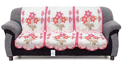 """Kuber Industriesâ""""¢ 6 Pieces White & Pink Flower Sofa and Chair Cover Set for 5 Seater (Code-SFL05)"""
