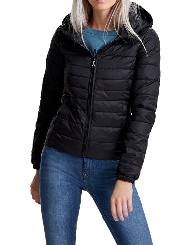 ONLY Damen onlTAHOE Hooded Spring Jacket CC OTW Jacke, Schwarz (Black), 38 (Herstellergröße: M)
