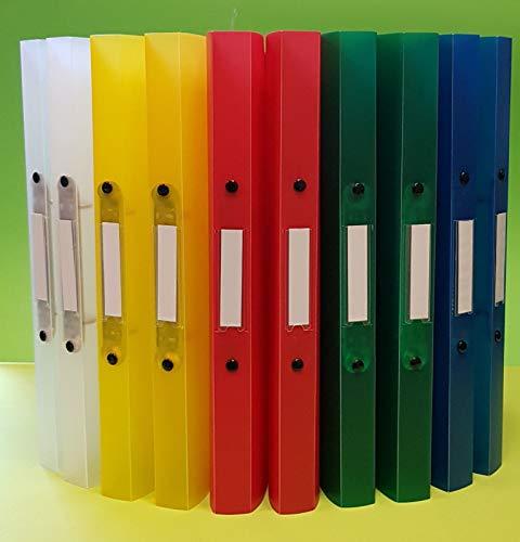 10 x A4 Ringordner, Ringbuch Ordner mit 2 Ringen (D=16mm) Rückenbreite 25mm, PP, farblich sortiert, transparent