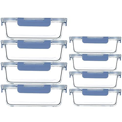 UMIZILI 8er Set Glas Frischhaltedosen, Glasbehälter mit Deckel, BPA frei, Spülmaschinen- Mikrowellen- und Gefrierschrankgeeignet, 1040 ml + 370 ml