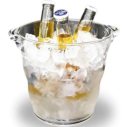 FYHH-JZHY Cubo De Hielo 4.9L Cubo De Hielo Transparente Champagne Cerveza Enfriador De Vino Soporte De Botella De Bebida Tina De Hielo para Bar/Exterior/Hogar Acrílico Grueso 20X20Cm / Transparente