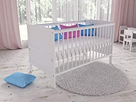 TIMON Convertible Wooden Baby Cot Bed + Deluxe Foam Mattress with Antibacterial Aloe Vera Cover (White)
