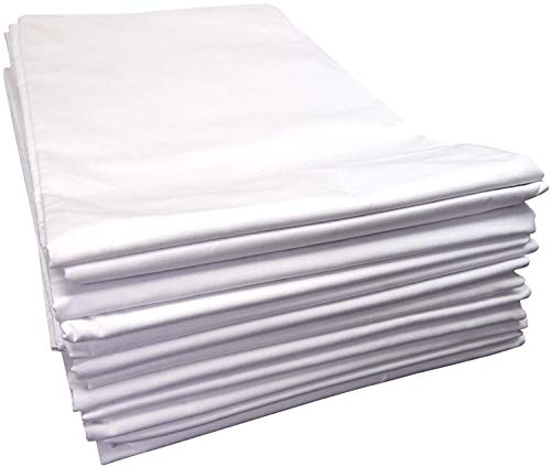 Linteum Textile (54x90 in, White) Twin Flat Draw Sheets 180 Thread Count (12)