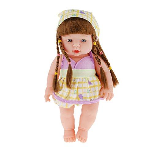 Bébé Poupée de Silicone Vinyle Vie Réelle Bébé Fille Réaliste Figurine Amovible - Violet
