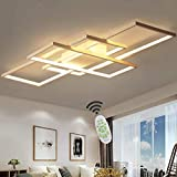 WYDM Lámpara LED de Aluminio Regulable con Control Remoto Acrílico Sala de Estar Diseño de Techo Lámpara de Oficina Iluminación de Dormitorio, Negro/Blanco, 90 cm,Blanco,L
