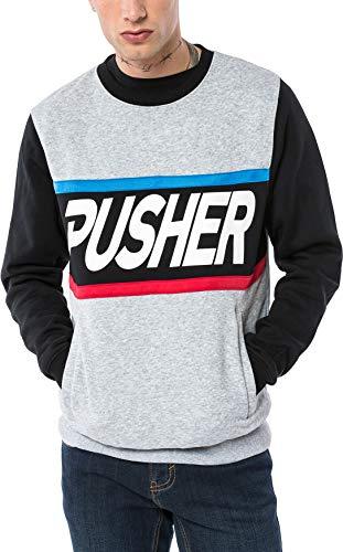 Pusher Apparel Herren More Power Sweater Sweatshirt, Grey, S