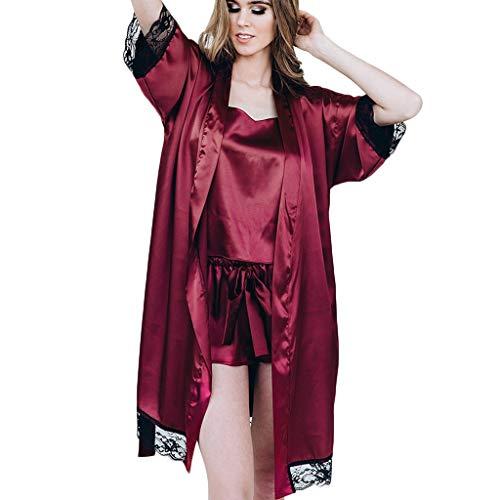 Kimono Corto Bata de Satén Vestido Pijama Mujer Lencería con Cordón Satén Seda de Hielo Bata Albornoz Camisón Bodydoll Sleepwear(Vino,L)