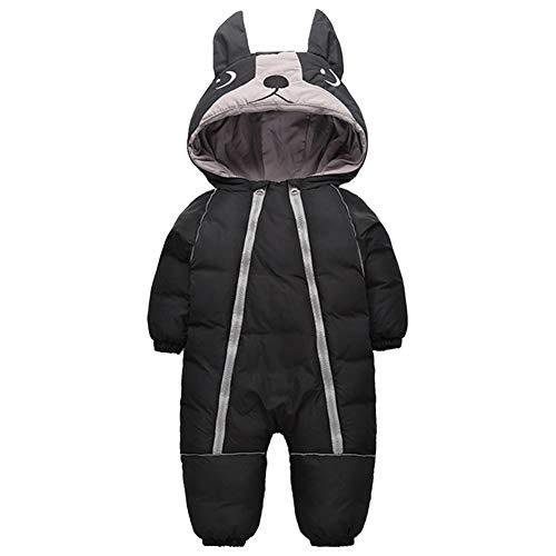 LSERVER Baby Onesies Winter verdickende Kinder Kletterbekleidung, Schwarz, 92/98(Herstellergröße: 100)