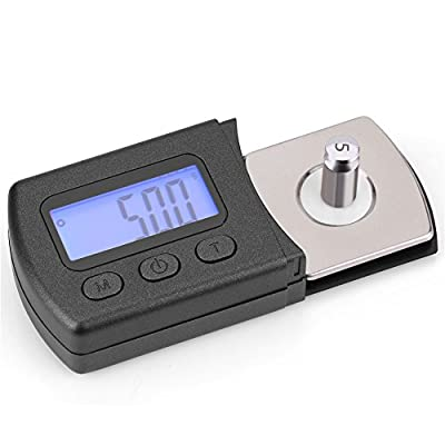 ASHATA Digital Turntable Cartridge Stylus Tracking Force Scale Gauge Tester with Blue LCD Backlight 0.01g / 5g Calibration Weight for Tone arm Phono Cartridge
