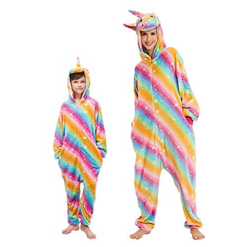 DEBAIJIA Adulto Unisex Pijamas Animal Ropa de Dormir Novedad y Navidad Disfraces Pijama para Niños Juguetes y Juegos Oscuro de Dibujos Animados de Franela Rayas Oro - 135