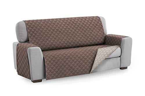 Textilhome - Funda Cubre Sofá Malu, 4 Plazas, Protector para Sofás Acolchado Reversible. Color Marrón C/2