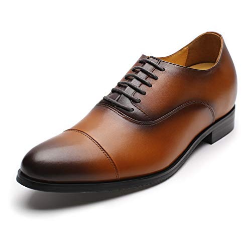 "CHAMARIPA X92H38 Men's Height Increasing Elevator Dress Shoes Oxford 2.76"" Taller (10 D(M) US,Brown)"