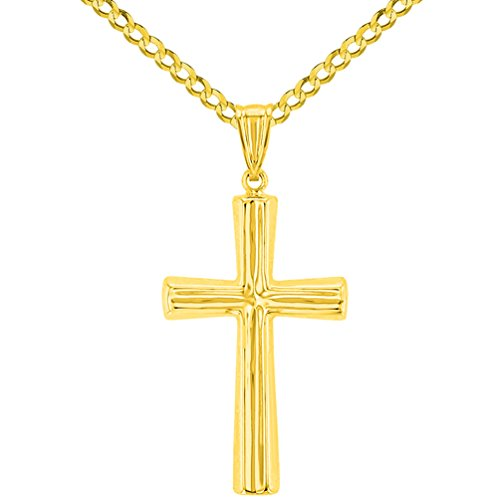 Polished 14K Yellow Gold Plain Religious Cross Pendant with Curb Chain Necklace, 24