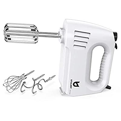 Hand Mixer Electric, Utalent 180W Multi-speed Hand Mixer with Turbo Button, Easy Eject Button and 5 Attachments (Beaters, Dough Hooks, and Whisk) from Utalent